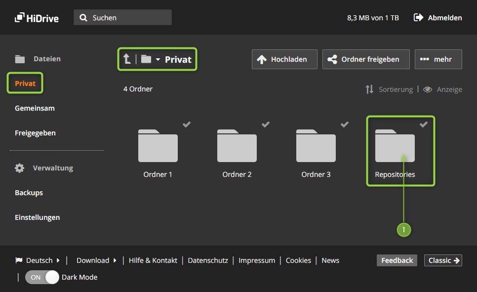 HiDrive - Ansicht mit zuvor erzeugtem Ordner Repositories