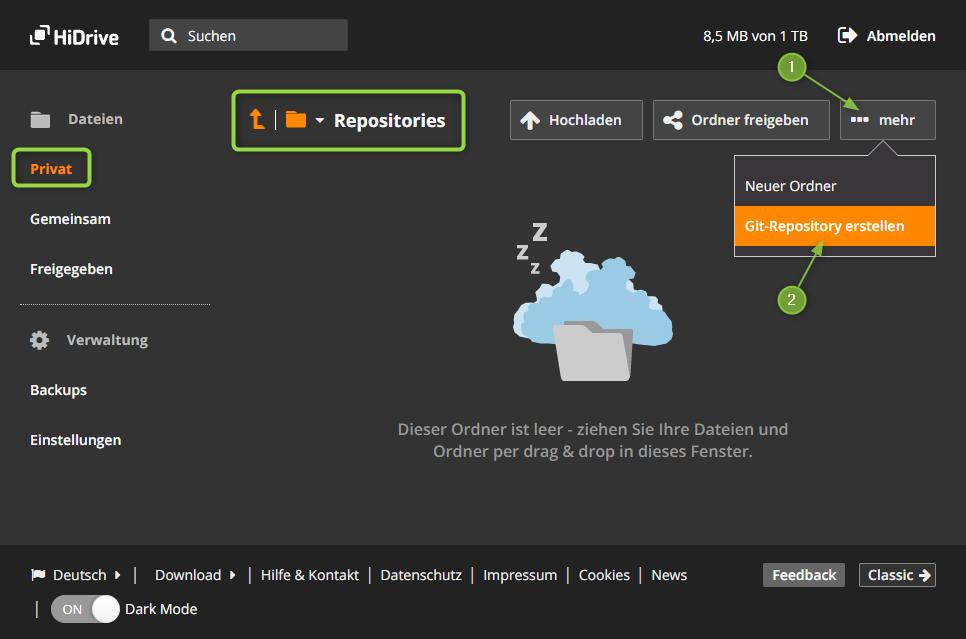 HiDrive - Ein neues Repository anlegen