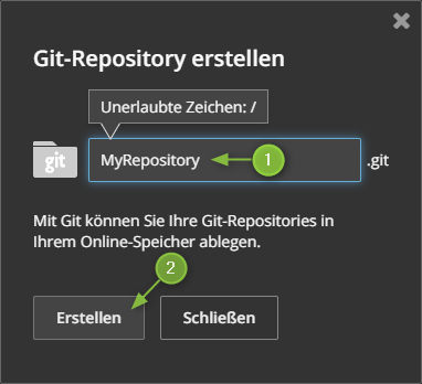 HiDrive - Git-Repositoriy erstellen