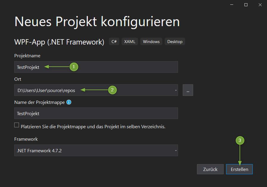VS2019 - Neues Projekt konfigurieren