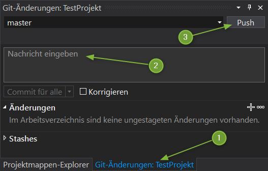 VS2019 - Git-Änderungen: TestProjekt
