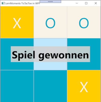 Fertige WPF Oberfläche des zu entwickelnden TicTacToe-Spiels