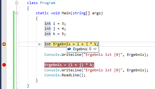 Quellcode mit Breakpoint in Visual Studio