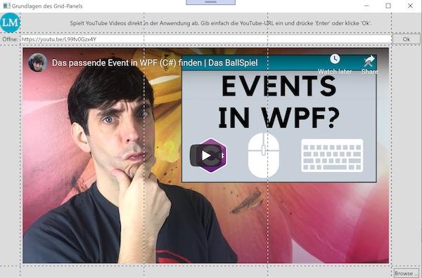 Fertige WPF Oberfläche des WPF YouTube Player